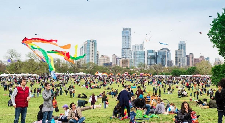 Crowds of people in Zilker Park, Austin's largest park.