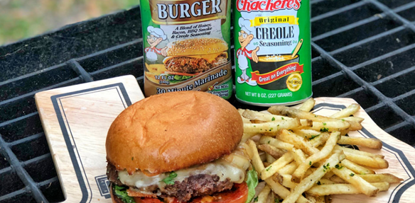 Texas Tasty's self-made Caliente Burger and Creole fries. The highlight of our Fourth of July recipes.